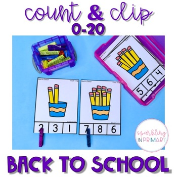 Count and Clip Cards - Back to School