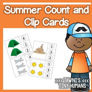 Count and Clip Cards - Counting 1-10 Summer Themed