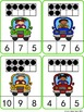 Count and Clip Cards: Kids in Cars (Numbers 1-20)