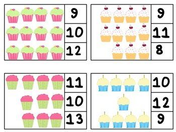 Count and Clip Cards Numbers 1-20 Cupcake Theme