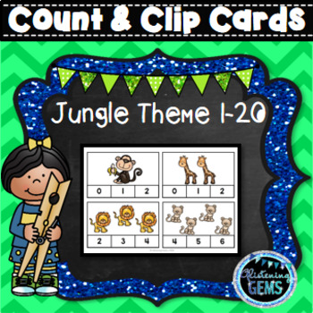 Count and Clip Cards - Numbers 1-20 - Jungle Safari Theme
