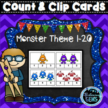 Count and Clip Cards - Numbers 1-20 - Monster Theme