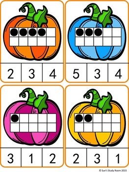 Count and Clip Cards: Pumpkin (Numbers 1-20)