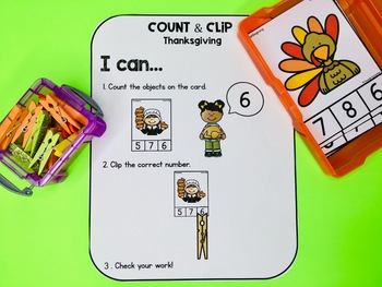 Count and Clip Cards - Thanksgiving