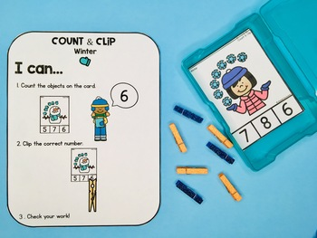 Count and Clip Cards - Winter