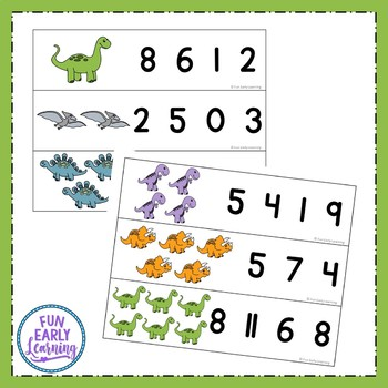 Count and Clip Dinosaurs, Numbers 1-20 {Common Core}