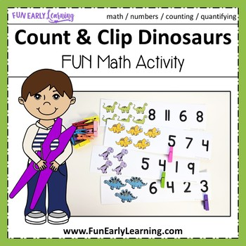 Count and Clip Dinosaurs - Hands-on Math Center Activity