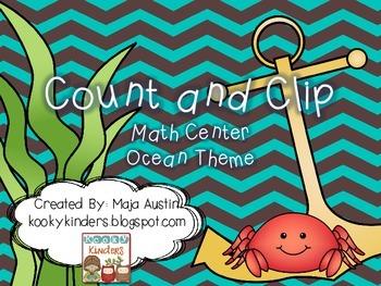 Count and Clip-Math Center-Ocean Theme