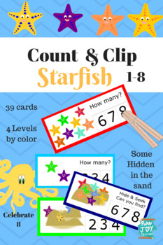 Count and Clip Starfish, Hide and Seek, Numbers count to Eight, 1-8
