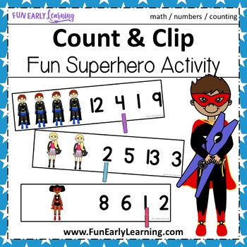 Count and Clip Superheroes, Numbers 1-20