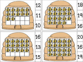Count and Clip Ten Frames 1-20 Bees