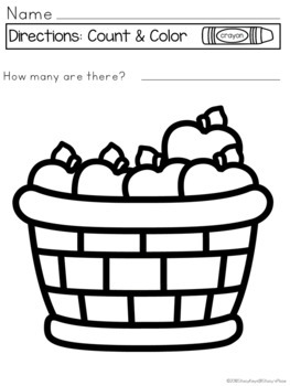 Count and Color Apples: Coloring Pages