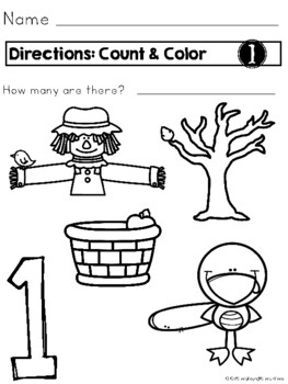 Count and Color: FALL Theme Coloring Pages