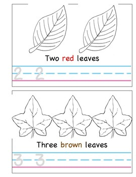 Count and Color Fall Leaves Book - Differenciated