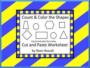 Shapes:Color And Count The Shapes, Cut and Paste Math Center Printables