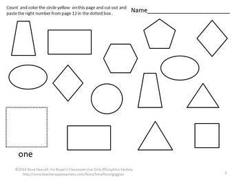 Color And Count The Shapes Cut and Paste Math Center Fine Motor Printables