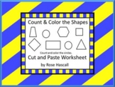 Shapes:Color And Count The Shapes NO PREP Cut and Paste Ma