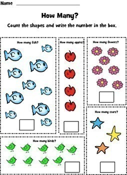Count and Color Worksheets One to Ten - Set 2 - CCS - Grade PK, K, 1