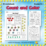 Count and Color Worksheets One to Ten - Set 2 - CCS - Grad
