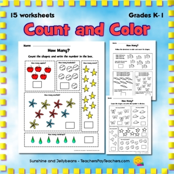 Count and Color Worksheets One to Ten - Set 2 - Common Cor