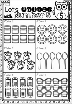 Count and Colour Math Worksheets in NSW Foundation Font for Kindergarten