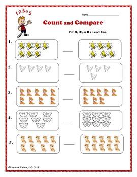 kindergarten math count and compare worksheets activities tpt. Black Bedroom Furniture Sets. Home Design Ideas