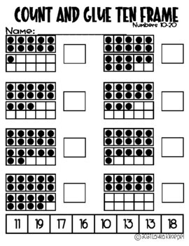 Count and Glue Ten-Frame 10-20
