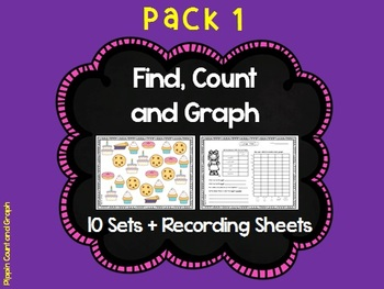 Find, Count and Graph - 10 sets with recording sheets (Mat