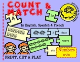 Count and Match Smiley Children -- English-Spanish-French Puzzle Game