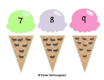 Count and Match with Ice Cream and Ants