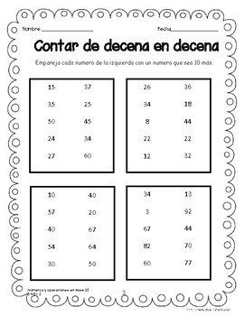 Count and Model Numbers Chapter 6 (Spanish Practice Worksheets)
