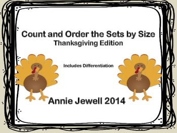 Count and Order the Sets by Size Thanksgiving Edition FREEBIE
