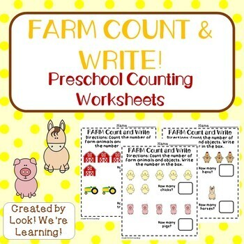 Count and Write Worksheets - Farm Counting!