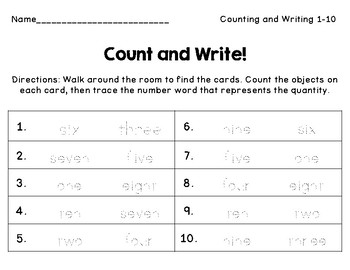 Count and Write: Writing Number Words