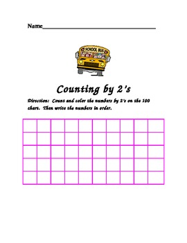 Count and Write numbers by 1's,2's, 5's and 10's using a 100 chart
