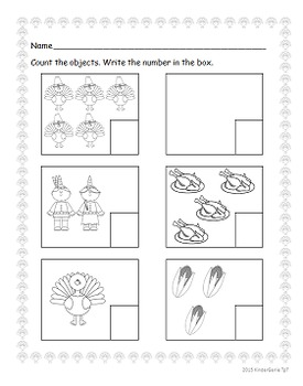 Count and Write to 5 Thanksgiving Theme