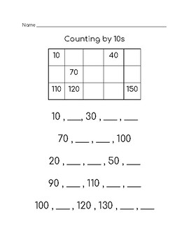 Count by 10's: Complete the Pattern
