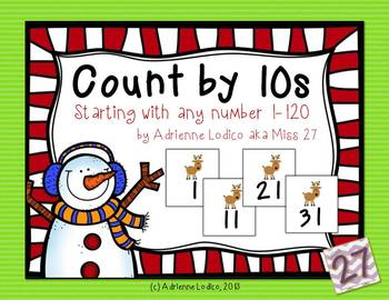 Count by 10s starting with any number 1-120 Christmas Edition