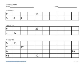 Count by 2, 5 & 10s practice sheet
