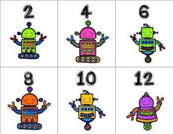 Count by 2s to 120 Free robot themed cards for centers and lessons