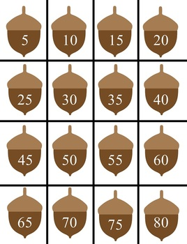 Count by 5 -Cute little acorns for your students to use to count by 5s