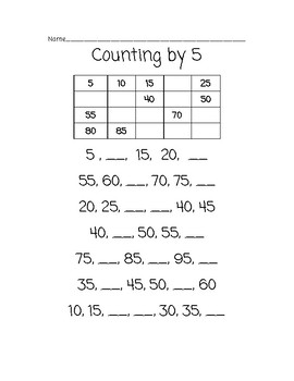 Count by 5s: Complete the Pattern