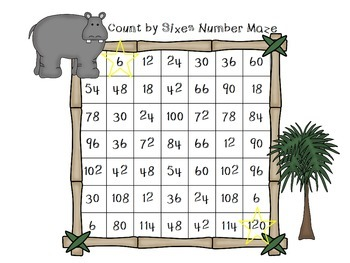 Count by Sixes Number Mazes
