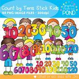 Count by Tens Stick Kids - Clipart for Teaching
