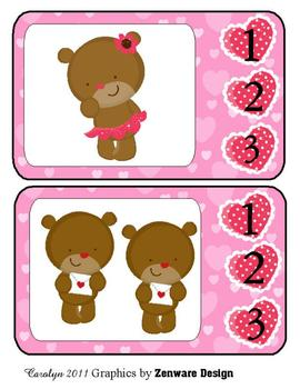 Count on Teddy Bear Love Clothes Pin Match