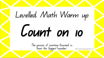 Count on ten Levelled warm-up PowerPoint ACARA C2C CCSS