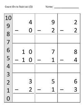 Count on to Subtract within 10