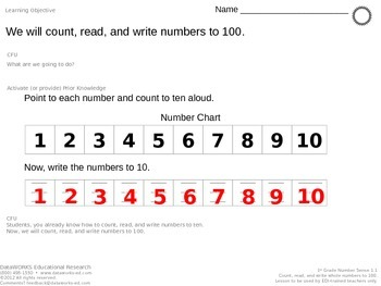 Count, read, and write numbers to 100