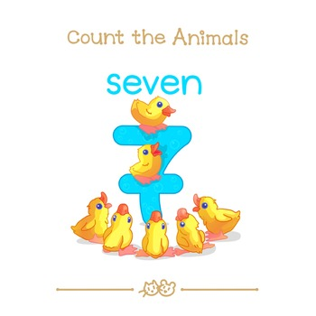 ❤ 0-10 Animal numbers cards. Count the Animals. Arithmetic posters.