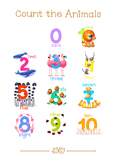 ❤ 0-10 Animal numbers cards. Count the Animals. Arithmetic